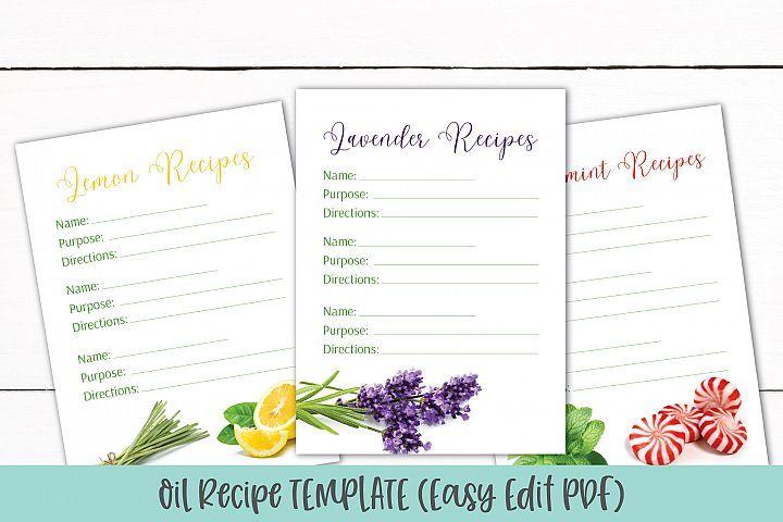 Essential Oil Recipe Card Template Editable Recipe Pdf 326573 Card And Invites Design Bundles Recipe Cards Template Card Template Card Design