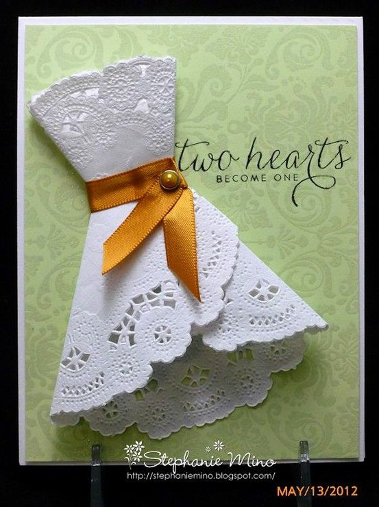 Bridal shower card made with a doily. What a great idea!