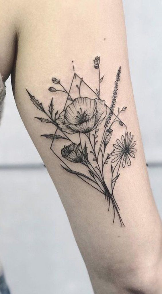 Cute Black Wild Flower Arm Tattoo Ideas For Women – Beautiful Tattoo Ideas From