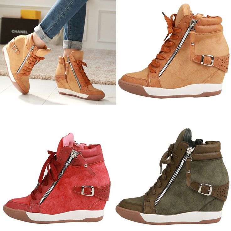 new womens shoes high top wedge heel lace up zipper