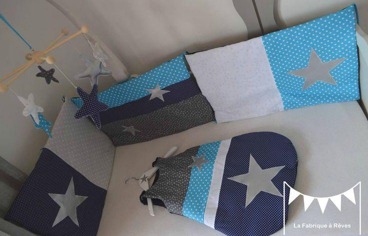 tour de lit b b turbulette gigoteuse douillette bleu marine turquoise argent d coration. Black Bedroom Furniture Sets. Home Design Ideas