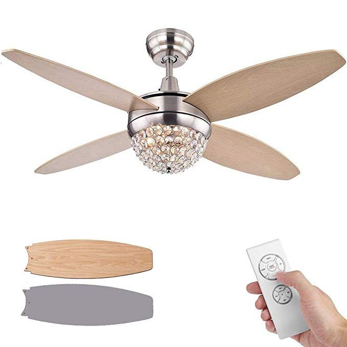Senhome 52 Inch Ceiling Fan With Light Led And Remote Control