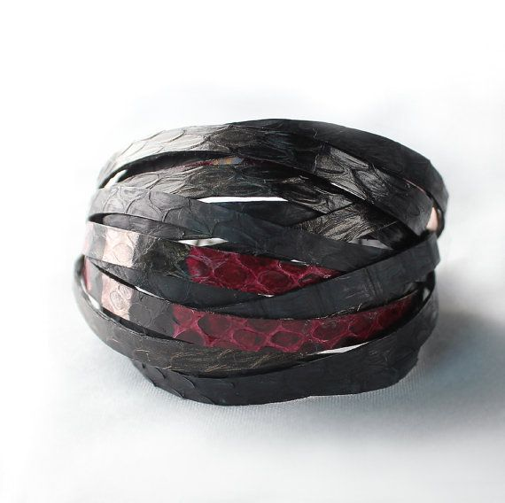 Python snake skin bracelet crimsondark navy brown by sonhee, $48.00
