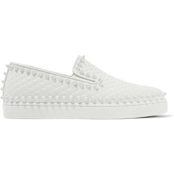 Christian Louboutin Pik Boat spiked textured-leather slip-on sneakers ($780) ❤ liked on Polyvore featuring shoes, sneakers, slip on trainers, white slip on sneakers, slip-on shoes, print sneakers and white slip on shoes