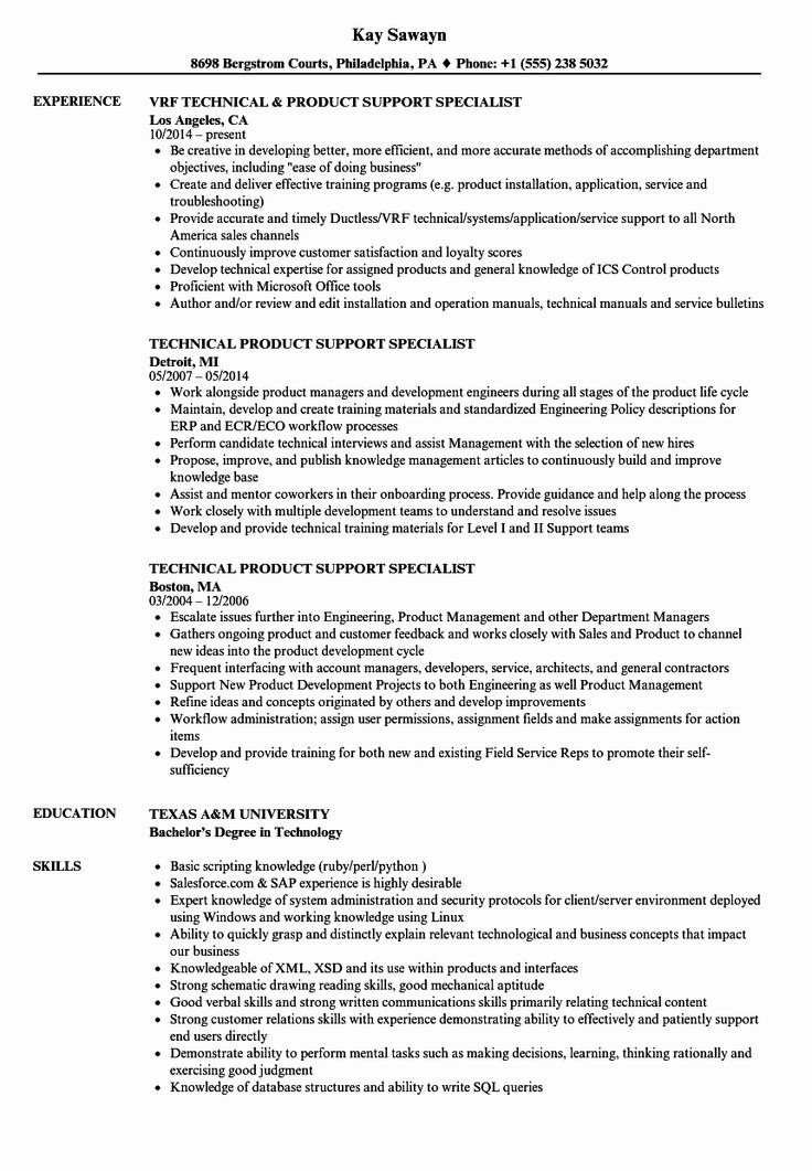 Customer Support Specialist Resume Best Of Technical