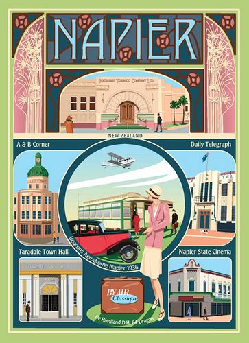 Napier, New Zealand.    Art Deco capital of the world. Destroyed by an earthquake IN 1931 and totally rebuilt in the Art Deco Style. MY MOTHER MAVIS ORBELL WAS 15 AT THE TIME OF THE EARTHQUAKE.