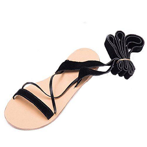 38bc1b7f9 Fheaven Women Lace Up Female Cross Strap Shoes Bow Tie Sandals Wrap Gladiator  Flat Sandal