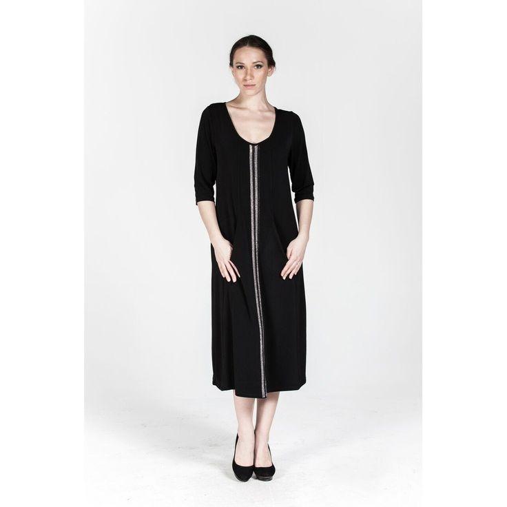 Plus size Black Rollneck Stony Details Dress