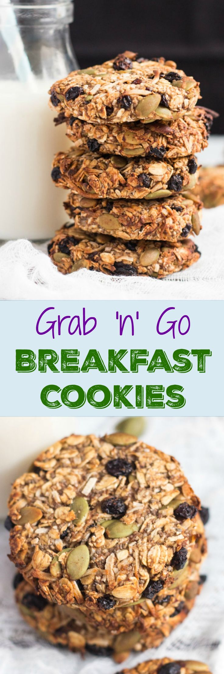 Super Healthy Grab and Go Banana Breakfast Cookies