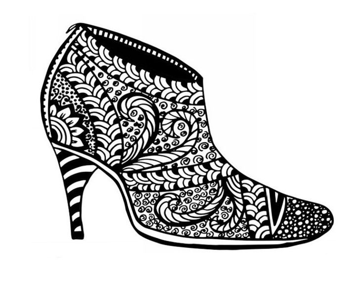 162 best images about Shoes Coloring Pages for Adults on ...