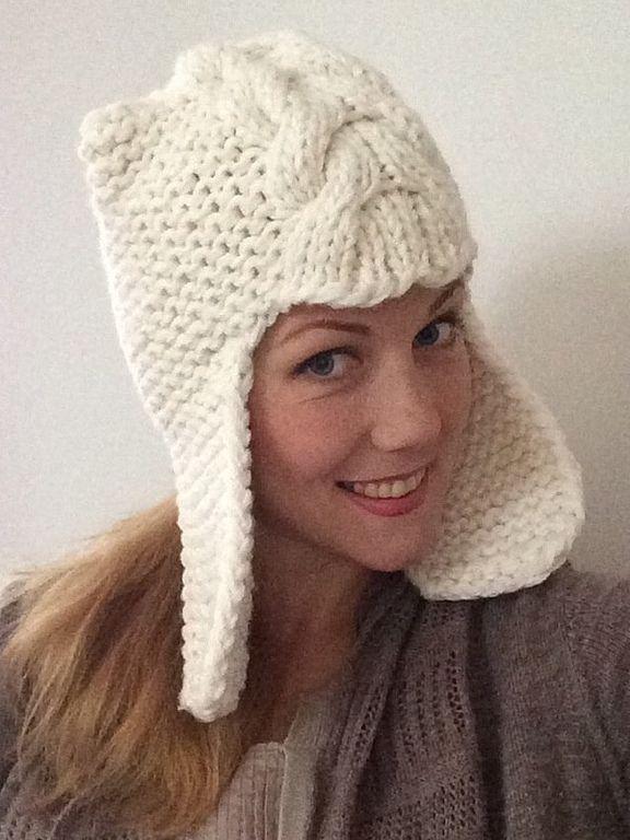 шапка - шлем белая теплая шерстяная - Евгения - Ярмарка Мастеров