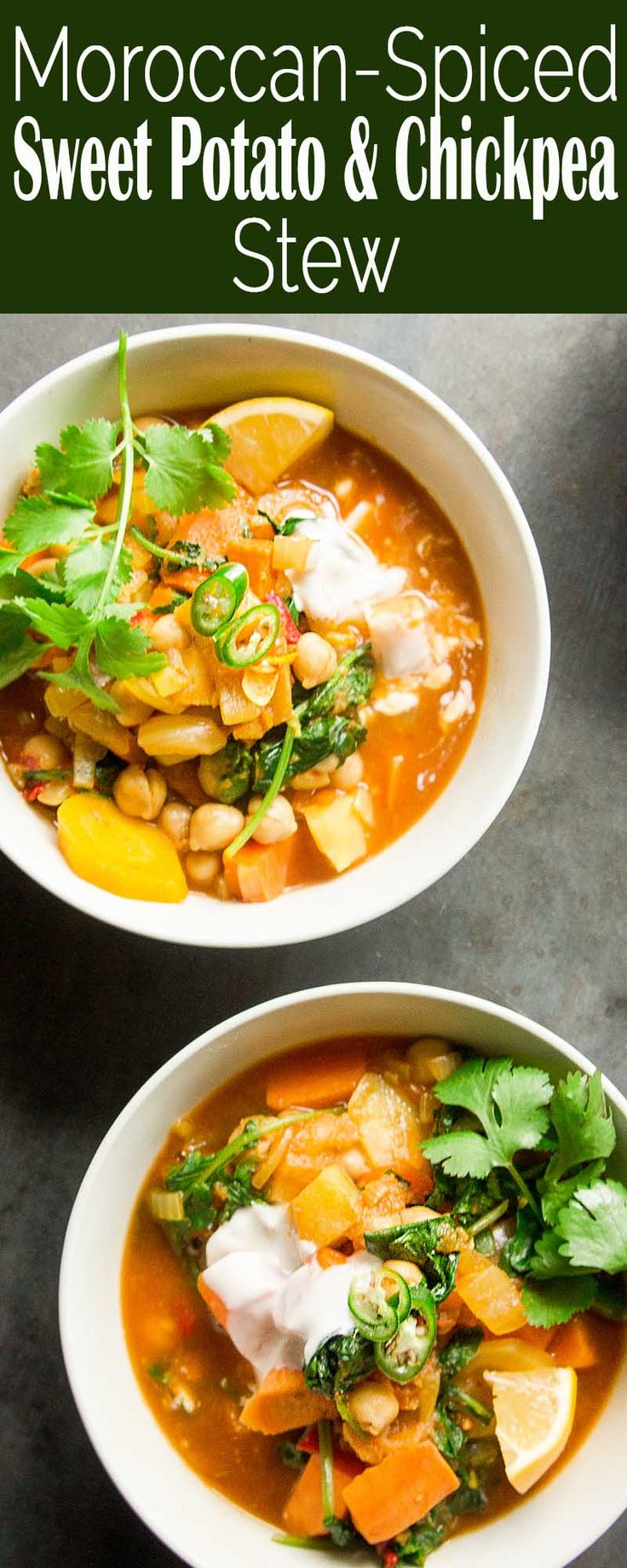 Moroccan-spiced Vegetable and Chickpea Stew! 30-min cook time, vegan, gluten-free, seasoned with ras el hanout spice mix (cumin, coriander, ginger, and cinnamon).