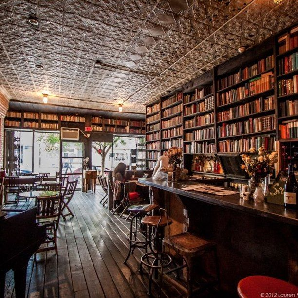 Milk and Honey, book lined coffee shop for freelancers to work and read in