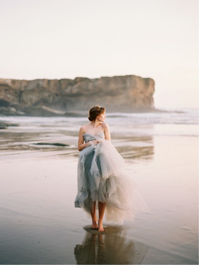 The Oregon Coast, Photo by When He Found Her, Featured on Wedding Sparrow, Claire la Faye Wedding Dress, Coastal Wedding, Bridal Fashion, Colored Wedding Dress