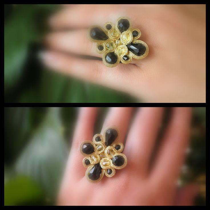 black & gold soutache ring