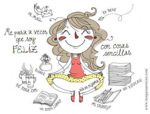 """A1/A2 - ¿Qué te hace feliz? [""""Pequeñeces"""", ilustración de Vero Rodríguez en http://www.mepasaaveces.com/]"""