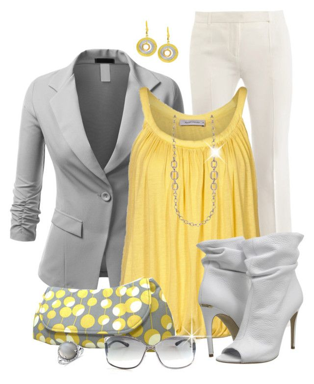 Gray & Yellow Office Style by justbeccuz on Polyvore featuring René Lezard, J.TOMSON, Alexander McQueen, Burberry, Fremada, Anne Klein, Blue Nile and Tom Ford