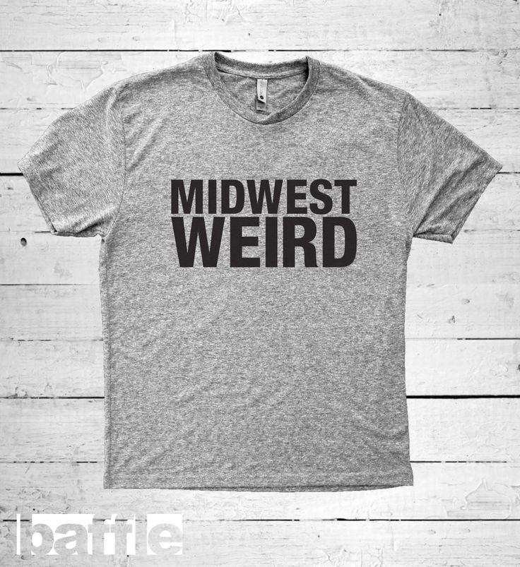 Baffle Tees / Midwest weird (Men's Tri-Blend T-Shirt, Grey, S, M, L, XL, XXL) xmas, christmas, holiday, birthday, presents by BaffleTeesShop on Etsy