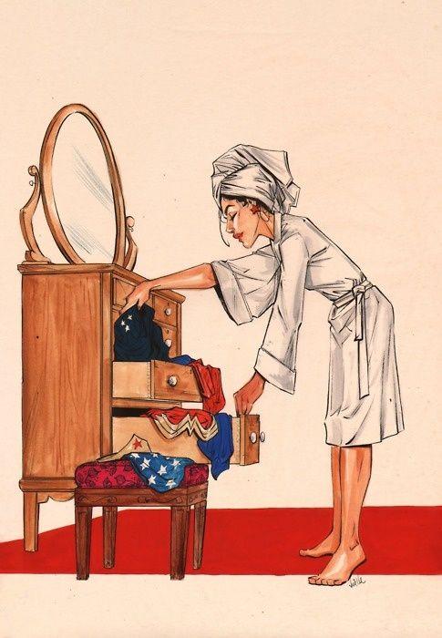 Ilustração Joelle Jones - Enquanto Isso na casa da Mulher Maravilha...