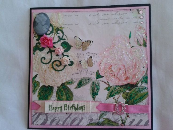 Birthday Card - using serviette as the background paper
