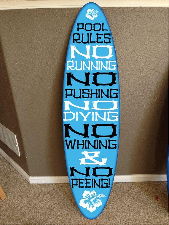 wall hanging surf board surfboard decor hawaiian beach surfing beach decor Pool Rules sign