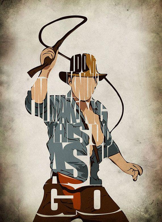 Indiana Jones Print - Harrison Ford  Minimalist Illustration Typography Art Print & Poster