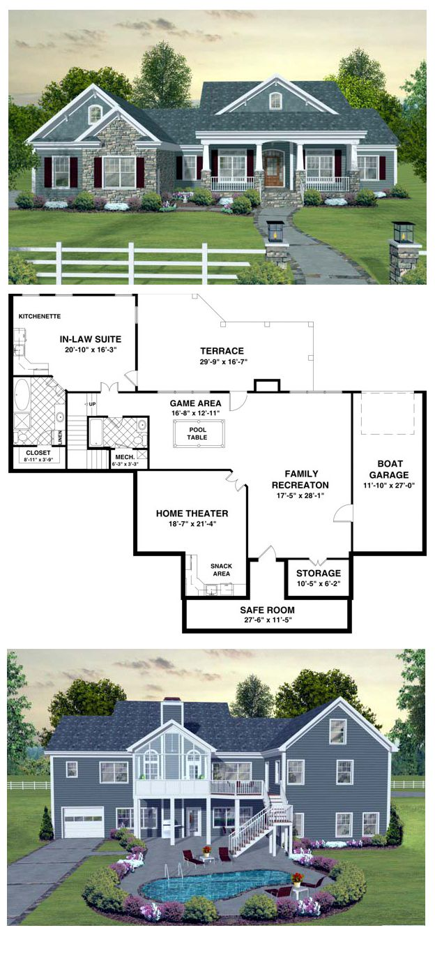 COOL House Plan ID: chp-45369 | Follow the steps down to the basement where a whole new world awaits! The family recreation area has a game room with plenty of space for a pool table. Also included is a home theater, safe room & guest suite. #finishedbasement #houseplan