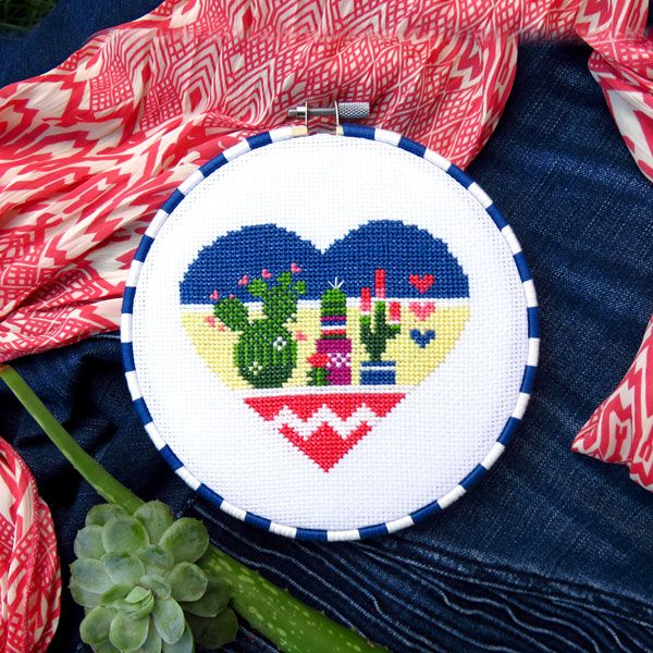 Cross stitch cactus heart, Mexican inspired!