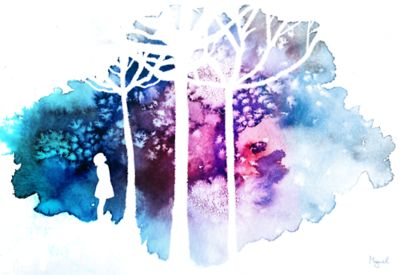 Cute use of silhouettes (love the tree branches) with starburst watercolours <3
