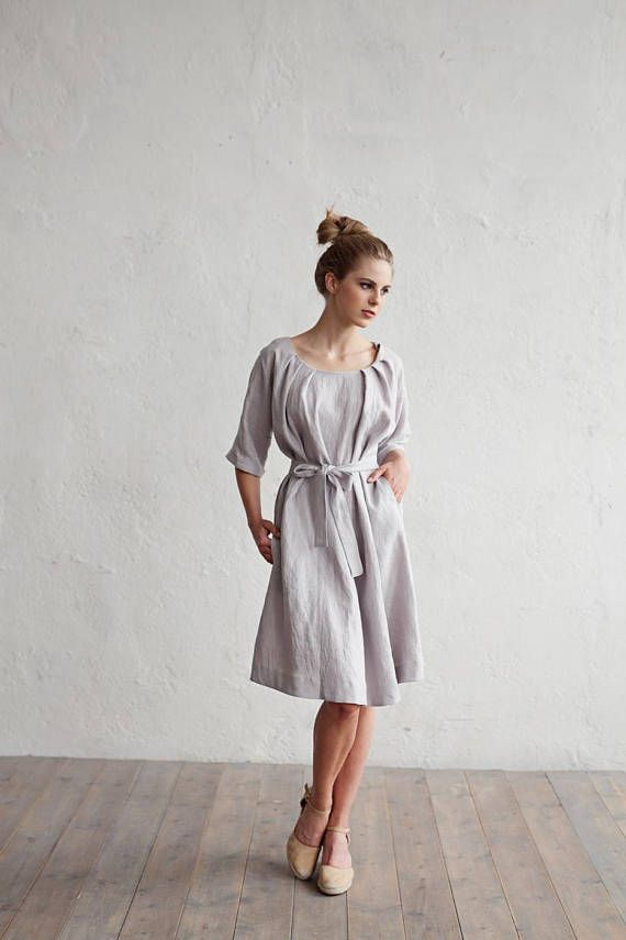 6381fbb5e18 Linen dress with belt CORFU. Various colors available. Knee-length ...