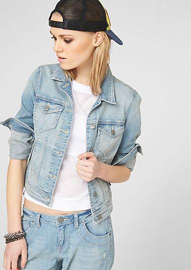 Jeansjacke mit Used-Effekten