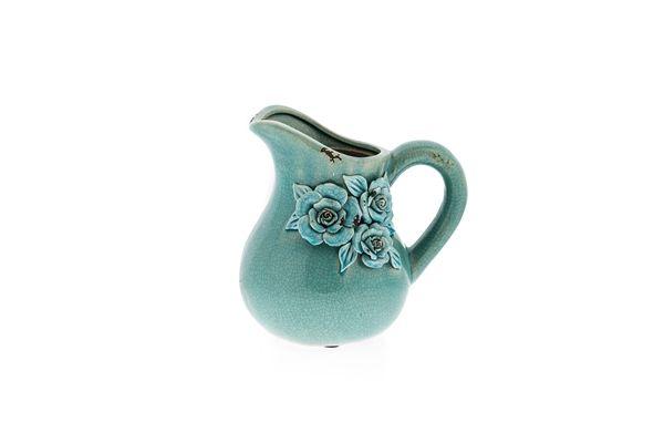 Casa Uno Ceramic Flower Motif Jug Dinnerware Aqua - NEW