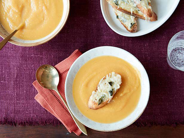 Butternut Squash Soup with Fontina Cheese Crostini recipe from Giada De Laurentiis via Food Network