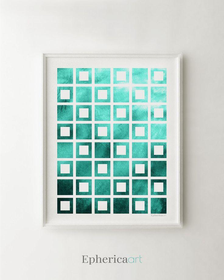 Teal print art, Geometric poster art, Modern office decor, Teal wall decor, Blue office art, Modern wall decor, Teal wall print, Square art by EphericaArt on Etsy