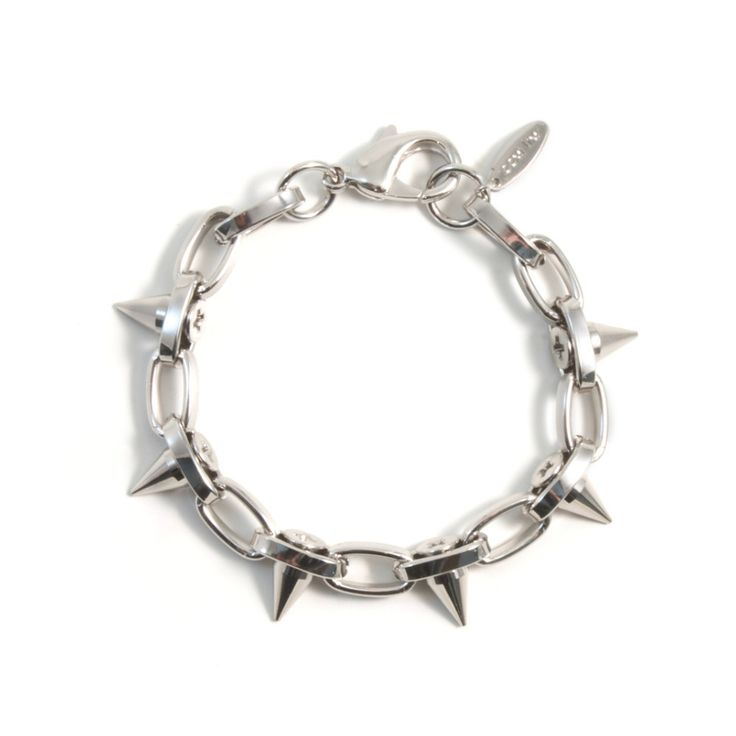 Lady Rebel Single Row Short Spike Bracelet - Rhodium
