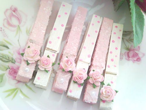 Embellished pink clothespins! Cute DIY project
