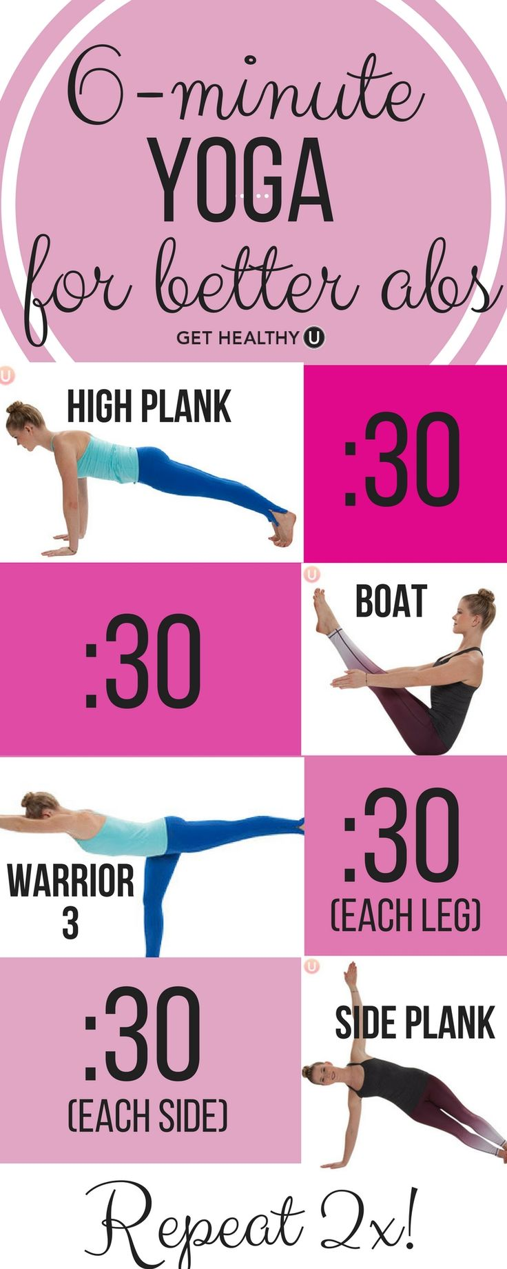 Did you know that yoga can also land you a strong core and enviable abs? Weu2019ve pulled four of the best core strength yoga poses and put them into a workout routine you can do anytime and anywhere in just 6 minutes! #weightloss