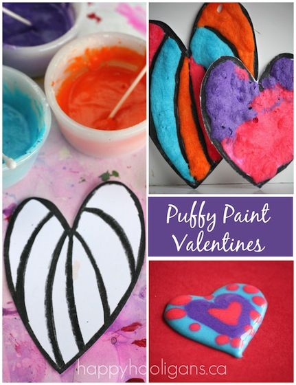Kids can use our 3-Ingredient puffy paint recipe to make puffy paint Valentines cards and garlands! It's art, a gift and a science experiment all in one!