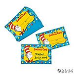 Dr. Seuss Cat in the Hat™ Motivational Punch Cards. Could use these for each time the react their academic goal. Then when the card is full they get to go to the prize box