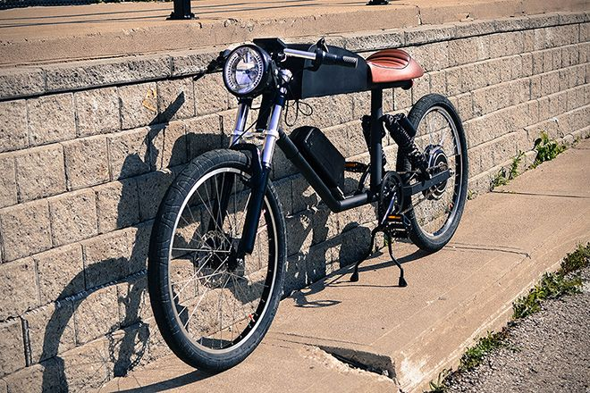 Tempus Electric Bike. Considering the seat is not adjustable and the presence of a throttle I would consider this closer to an electric moped you can pedal rather than an electric bicycle.