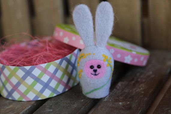 Needle felted Easter bunny. Small rabbit. Grey with by donidinadya