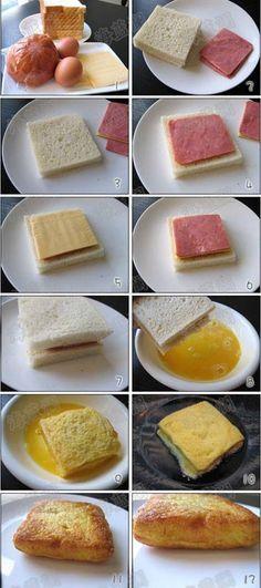 pan + jamon + queso + bañato en huevo y tostado = ricooo