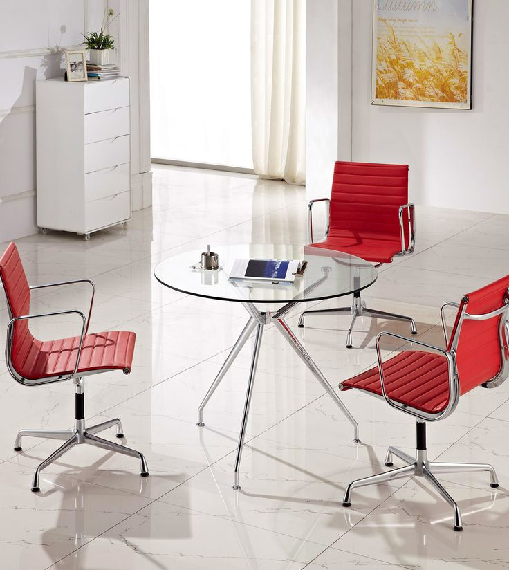 Comfortable designer office chair in red. Add a pop of red to your office design to create an engaging space. #workspace #office