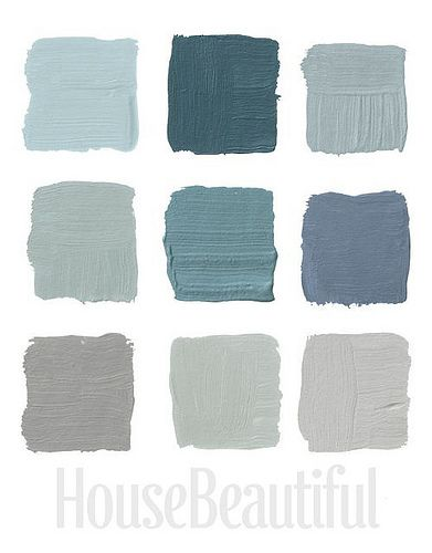 House Beautiful Designer Grays 2: Top Row: Pratt & Lambert's Argent 1322, Farrow & Ball's Claydon Blue 87, Farrow & Ball's Green Blue 84, ...