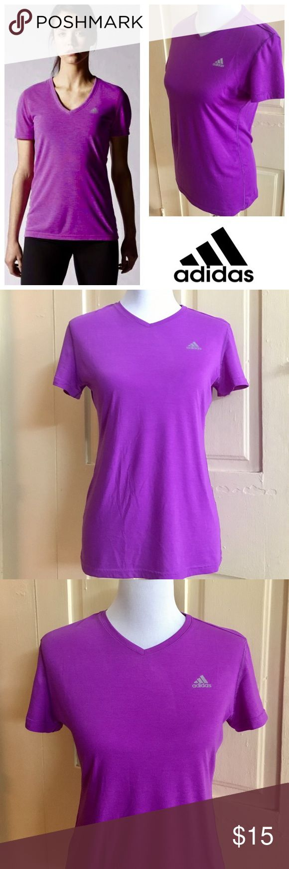 Adidas Ultimate Short Sleeve V-Neck Purple Tee (M) With the Adidas Women's Ultimate Short Sleeve V-Neck Tee, there are no limits! Release your inner beast with this t-shirt's anti-odor finish and wicks moisture fabric. This slim fitting top will boost your confidence and performance all at once. Great for daily workouts and active fun, add this dynamic top to your healthy lifestyle.   Color: purple (with a magenta hue).  Women's size medium.  85% polyester, 15% cotton.  Slim fit.  V-neck…