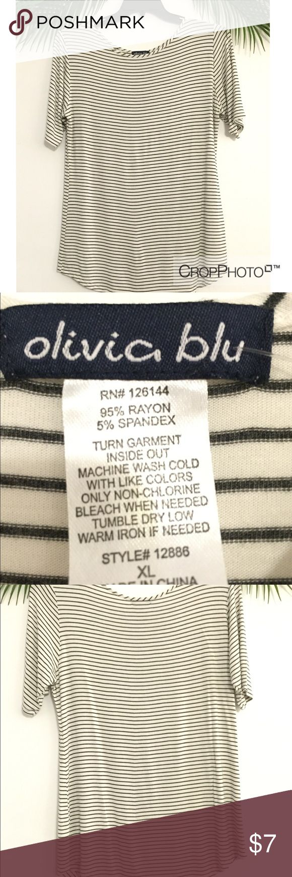 🔴4/!20 black white stripe tshirt Olivia Blu Classic and versatile black and white stripe tshirt by Olivia Blu, size XL. Comfy, stretchy, and drapey - gently worn maybe once. No flaws. Great with trousers and a blazer for work or jeans and booties for the weekend! Qualifies for 🔴4/$20 summer sale bundle. Ask me any questions! Olivia Blu Tops Tees - Short Sleeve
