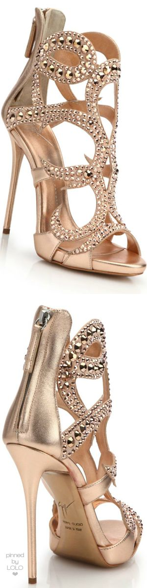 Giuseppe Zanotti Crystal-Studded Suede Sandals | LOLO❤︎