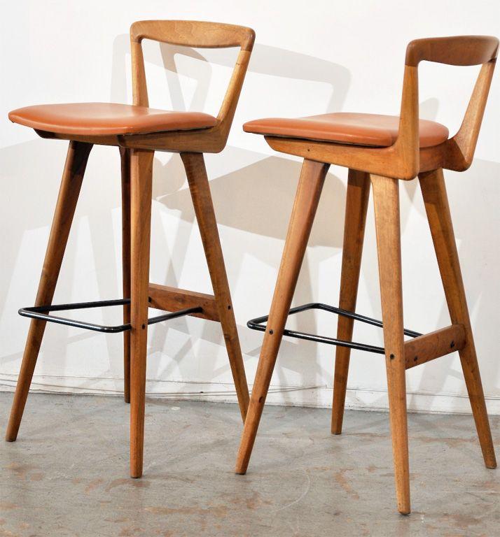 Henry Rosengren Hansen; Wood, Tubular Metal And Leather Bar Stools For  Brande Møbelfabrik,