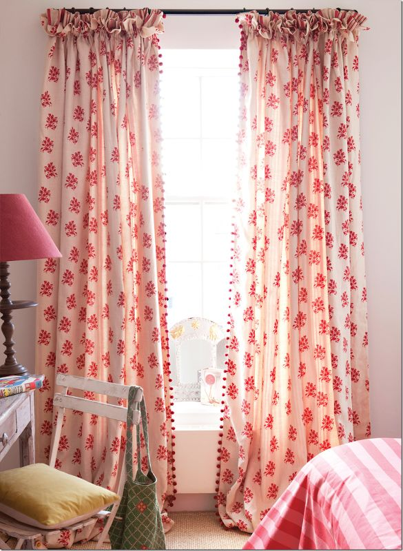 Kate Forman fabric on curtains. Contrasting stripe added as contrast in ruffled header