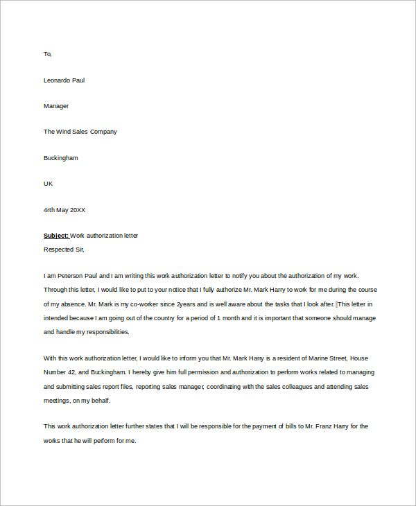 Sample Work Authorization Letter - 7+ Examples in Word, PDF - letter of authorization letter
